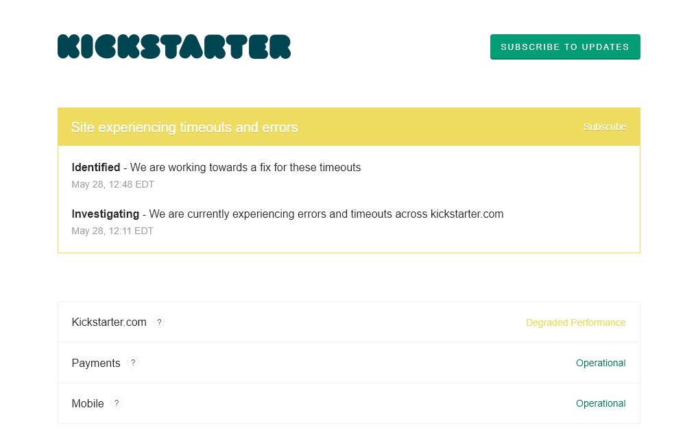 Kickstarter Timeout
